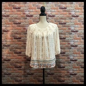 Lauren Conrad Metallic Thread Peasant Blouse